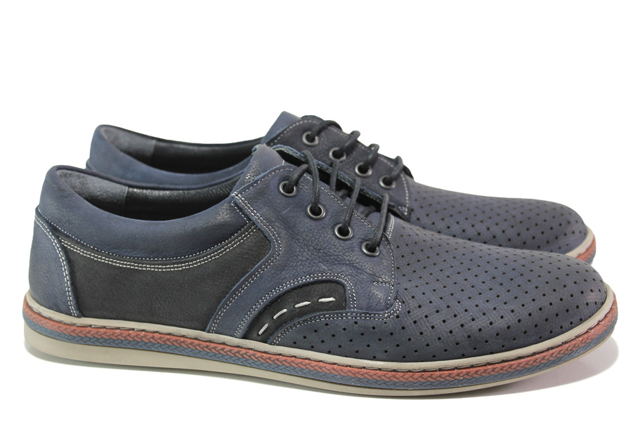 Мъжки обувки - естествена кожа - тъмносин - EO-13988