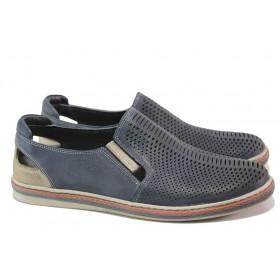 Мъжки обувки - естествена кожа - тъмносин - EO-13985
