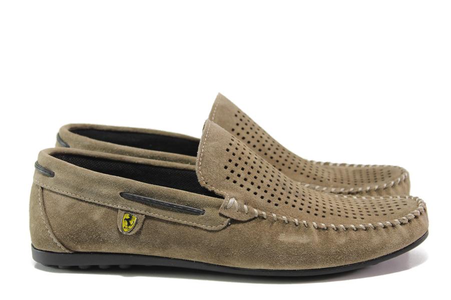 Мъжки обувки - естествен набук - бежови - EO-14041