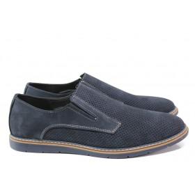 Мъжки обувки - естествен набук - тъмносин - EO-14067