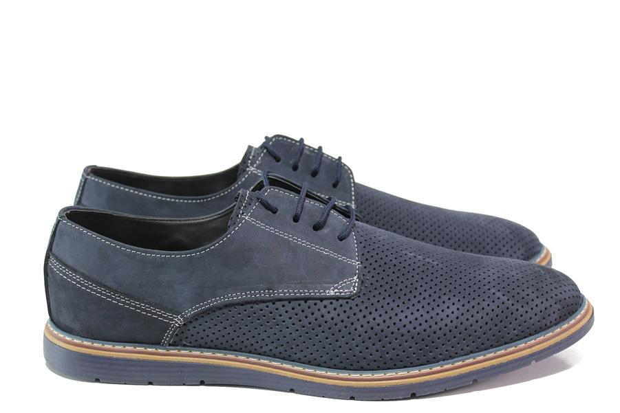 Мъжки обувки - естествен набук - тъмносин - EO-14068
