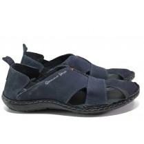 Мъжки сандали - естествен набук - тъмносин - EO-12482