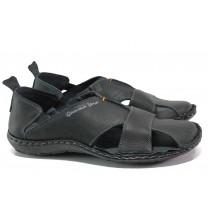 Мъжки сандали - естествена кожа - черни - EO-14188