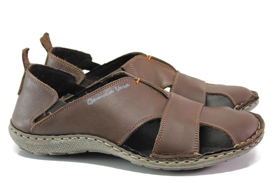 Мъжки сандали - естествена кожа - кафяви - EO-14190