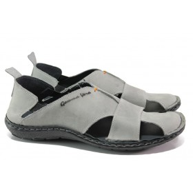 Мъжки сандали - естествена кожа - сиви - EO-14189
