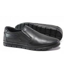 Мъжки обувки - естествена кожа - черни - EO-14508