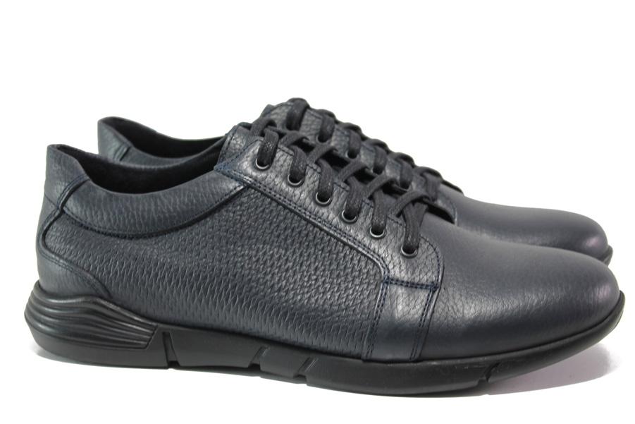 Мъжки обувки - естествена кожа - тъмносин - EO-14499