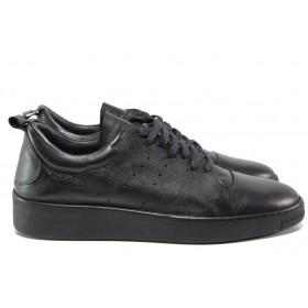 Мъжки обувки - естествена кожа - черни - EO-14506