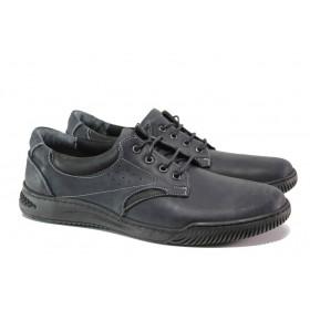 Мъжки обувки - естествена кожа - тъмносин - EO-14546