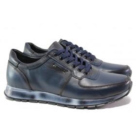 Мъжки обувки - естествена кожа - тъмносин - EO-14547