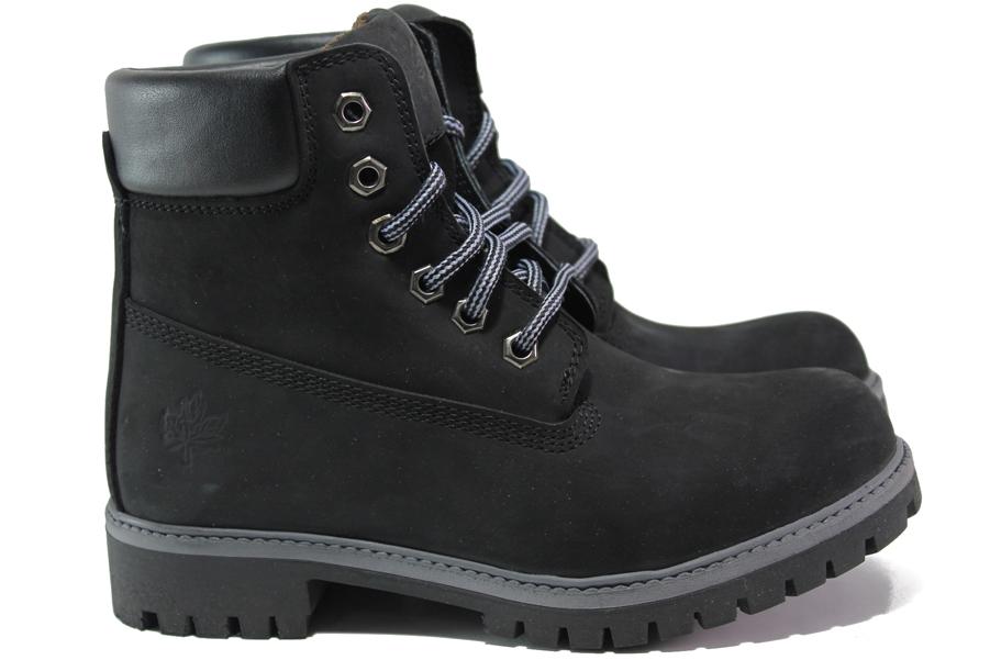 Юношески боти - естествен набук - черни - EO-14975