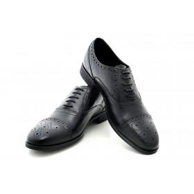 Елегантни мъжки обувки - естествена кожа - черни - EO-15025