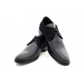 Елегантни мъжки обувки - естествена кожа с естествен велур - черни - EO-15015