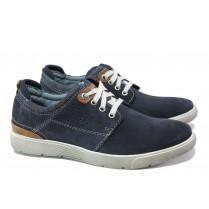 Мъжки обувки - естествен набук - тъмносин - EO-13506