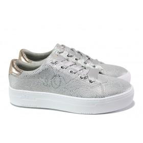 Равни дамски обувки - висококачествена еко-кожа - сребро - EO-13505