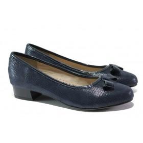 Дамски обувки на среден ток - естествена кожа - тъмносин - EO-13508