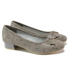 Дамски обувки на среден ток - естествена кожа - бежови - EO-13509