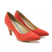 Дамски обувки на висок ток - висококачествен еко-велур - червени - EO-13510