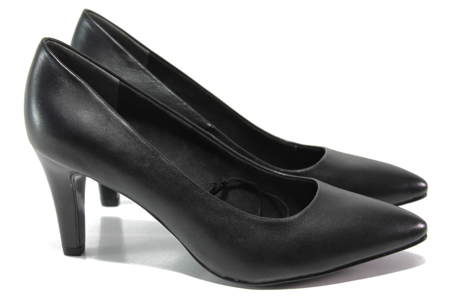 Дамски обувки на висок ток - естествена кожа - черни - EO-13511