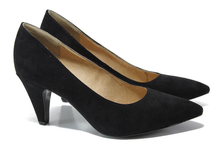 Дамски обувки на висок ток - висококачествен еко-велур - черни - EO-13521