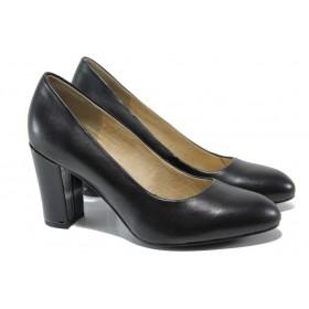 Дамски обувки на висок ток - естествена кожа - черни - EO-13522