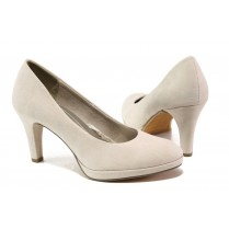 Дамски обувки на висок ток - висококачествен еко-велур - бежови - EO-13523