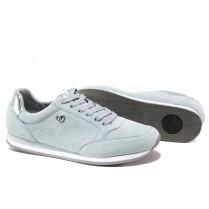 Равни дамски обувки - естествен велур - светлосин - EO-13520