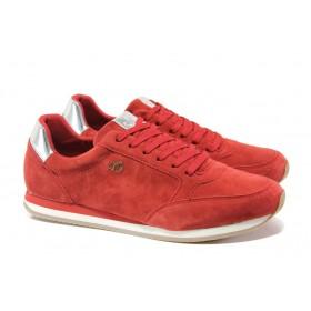Равни дамски обувки - естествен велур - червени - EO-13519