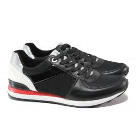 Равни дамски обувки - еко-кожа с текстил - черни - EO-13518