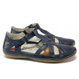 Равни дамски обувки - естествена кожа - тъмносин - EO-13526