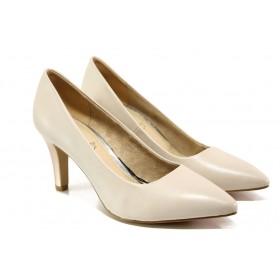 Дамски обувки на висок ток - естествена кожа - бежови - EO-13534