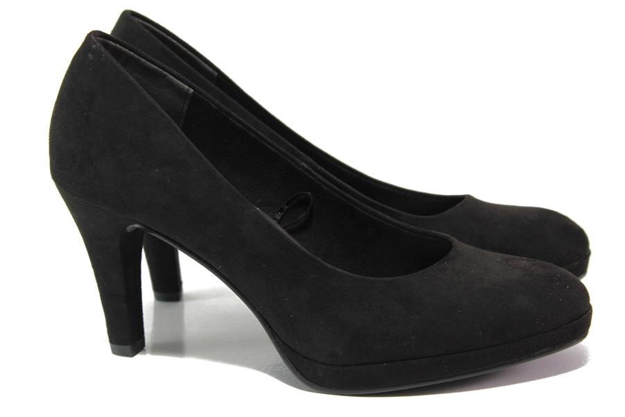 Дамски обувки на висок ток - висококачествен еко-велур - черни - EO-13559