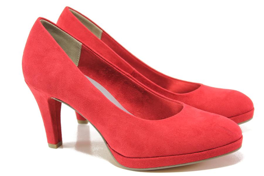 Дамски обувки на висок ток - висококачествен еко-велур - червени - EO-13560