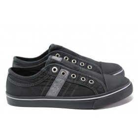 Равни дамски обувки - висококачествен текстилен материал - черни - EO-13597
