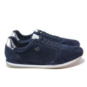 Равни дамски обувки - естествен велур - тъмносин - EO-13598