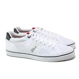 Спортни мъжки обувки - висококачествен текстилен материал - бели - EO-13640