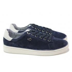Равни дамски обувки - естествен велур - тъмносин - EO-13638