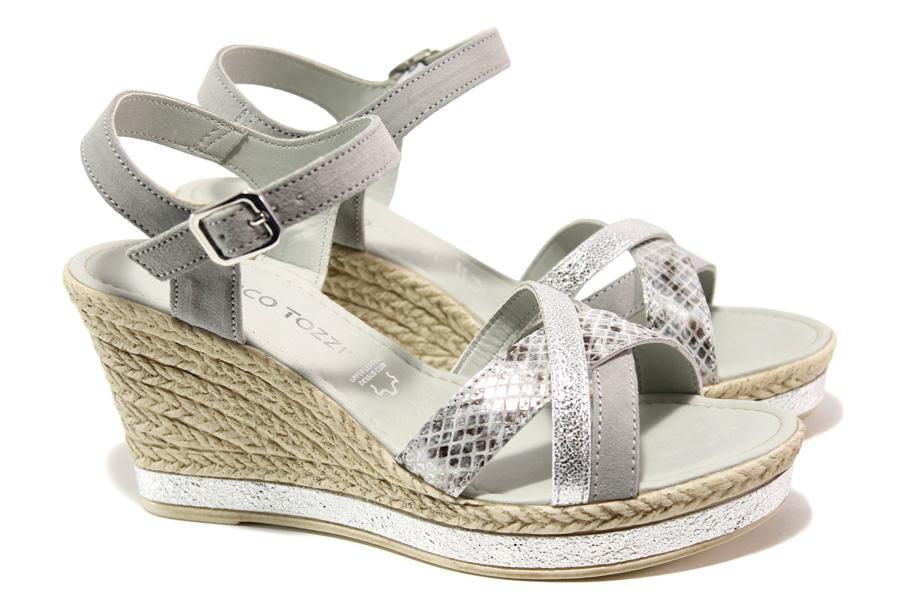 Дамски сандали - естествена кожа - сиви - EO-13691