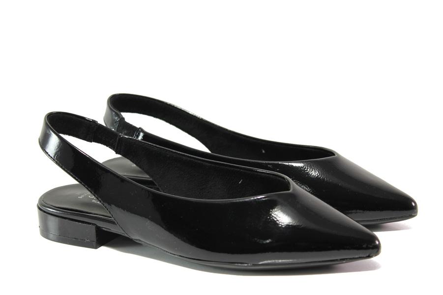 Равни дамски обувки - еко кожа-лак - черни - EO-13787