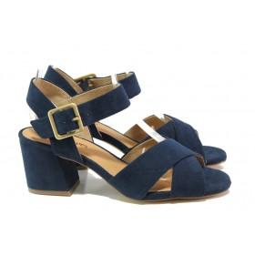 Дамски сандали - висококачествен еко-велур - тъмносин - EO-13827