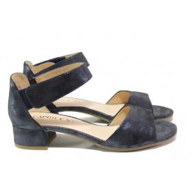 Дамски сандали - естествена кожа - тъмносин - EO-13834