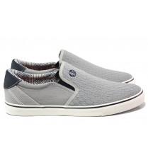 Спортни мъжки обувки - висококачествен текстилен материал - сиви - EO-13742