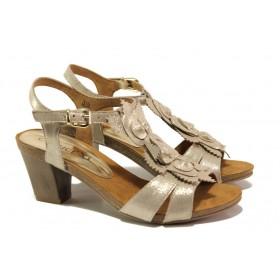 Дамски сандали - естествена кожа - бежови - EO-13835