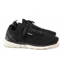 Спортни мъжки обувки - висококачествен текстилен материал - черни - EO-13747