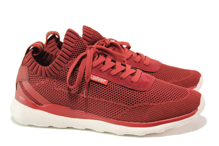Спортни мъжки обувки - висококачествен текстилен материал - червени - EO-13746