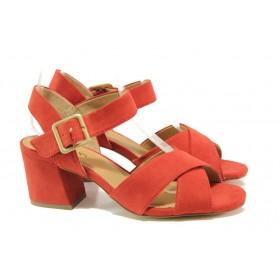 Дамски сандали - висококачествен еко-велур - червени - EO-13829