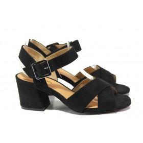 Дамски сандали - висококачествен еко-велур - черни - EO-13828