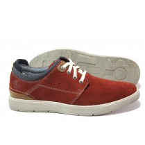 Спортни мъжки обувки - естествен набук - червени - EO-13750
