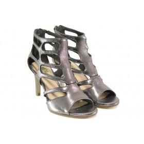 Дамски сандали - висококачествен текстилен материал - сиви - EO-13839