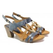 Дамски сандали - естествена кожа - тъмносин - EO-13840